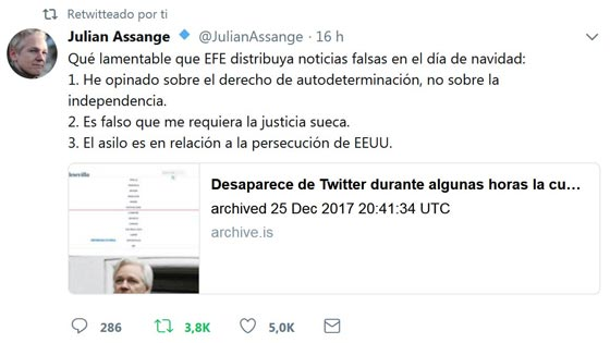 metamorfosis Nicolás Fran 5 Chanel Assange Vs EFE
