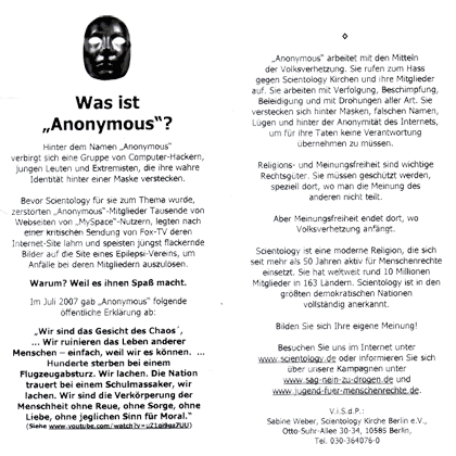 los papeles de WikiLeaks anti anonymous flyer scientology